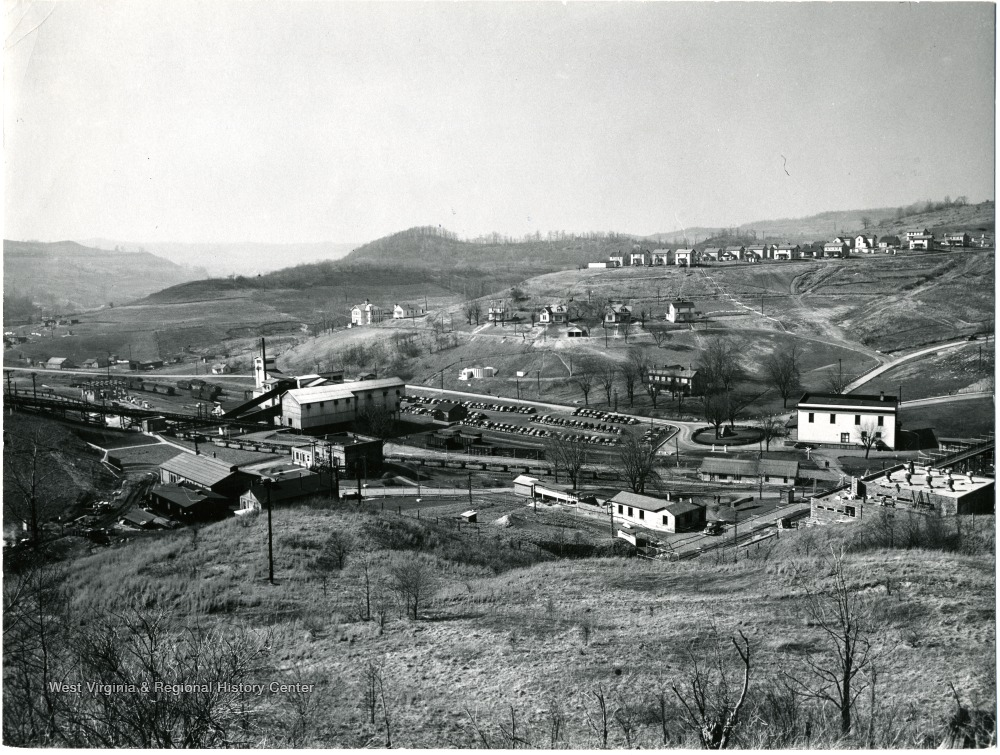 Scenic view of buildings and houses at Mine No. 32, Fairmont, W. Va. 'Credit must be given. Not to be reproduced without written liscense from William Vandivert.'