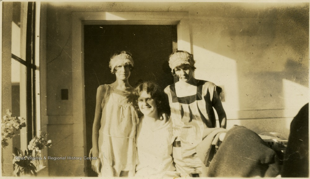 'I like this one of me better than any- Mrs. Long is on my left.'  Hester Harr pictured in middle.  Biographical information on Hester Harr obtained from her niece, Debra Harr. Hester Harr was a patient at Hopemont Hospital for approximately 10 years. After contracting tuberculosis, she was admitted in the Spring of 1926 and discharged 1936. She was born January 10,1906 in Buena, W. Va. near Canaan Valley, one of five children (the third and last daughter) of John R. and DeLarie Harr. Hester graduated from Petersburg High School in 1925. She entered Shepherd College in the fall of that year. In the spring of 1926, she transferred to West Virginia University. Her brother, Guy Harr, born 1909, was also a student at WVU at the same time. He also contracted tuberculosis and entered the Hopemont Sanitarium. He died at Hopemont in 1934. After leaving Hopemont, Hester Harr married Harold Yokum of Keyser on December 31, 1938. They made their home in Ridgeley, W. Va. near Short Gap, W. Va. (on Rt. 28 South of Cumberland). They had no children. Harold Yokum died in 1953. Hester Harr died in 1987 of complications of pneumonia. She is buried in the Maple River Cemetery in Petersburg, W. Va