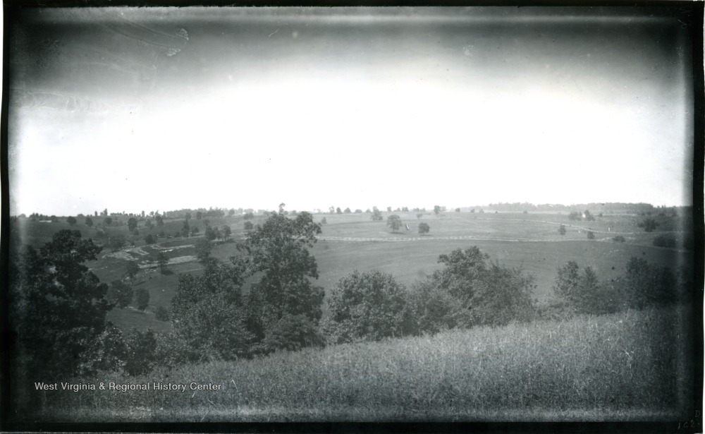 The view of Antietam, Dunker Church with East and West Woods from Benjamin Battery; the photo taken on Wednesday at 12:40 pm; 95.D.I.C.162.