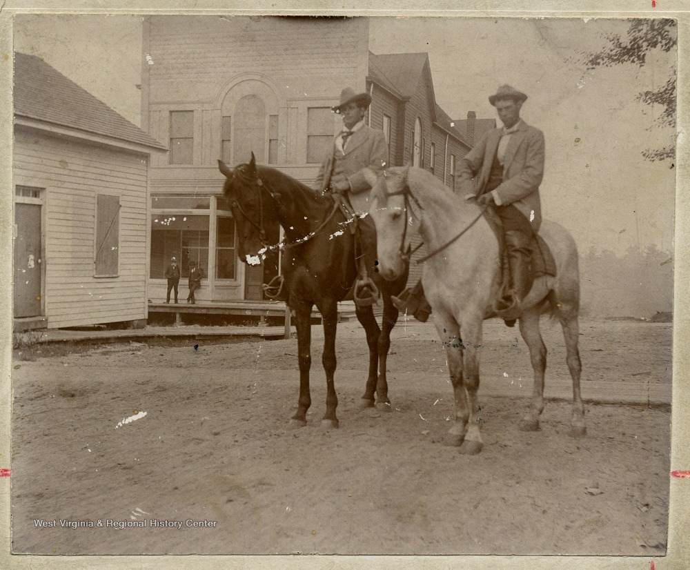 Portrait of Andrew Lewis and Dr  James A  Campbell on Horses