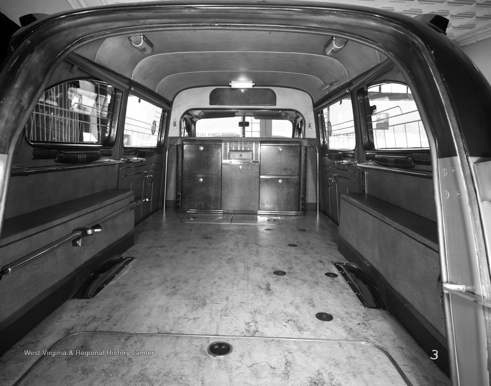 Company originally built school buses, but later switched to making hearses, as seen in this photograph.