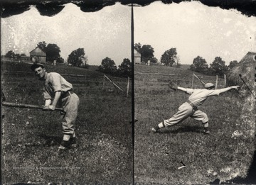 Unidentified baseball player in a rural setting posing alternately as a batter and a pitcher in two separate photographs.