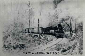 The Glady and Alpena R.R. between Gladwin in Tucker Co. and Alpena in Randolph Co., ca. 1910.  Ths was a lumber road built for the purpose of removing logs, lumber, tanning bark, and pulpwood. O. Homer Floyd Fansler, Hendricks, W.V.