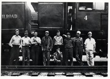 "L. to R.: Leonard Long, Charles Queen, Kenneth Caplinger, Walter ""Pop"" Good, Robert Cassell, Percy F. ""Bus"" Long (Wheeling), Ivan Clarkson, Clyde Galford, Kyle ""Catty"" Neighbors; Cass, W. Va."