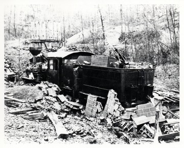 Train engine crashed into a block structure. Premar Coal Co. property, Austin, WV; Lima CN# 1907 of 1907.