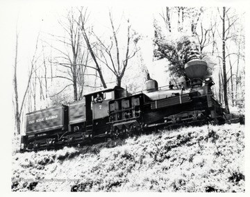 Shay No. 7 train engine on the tracks of a hillside; Richard Carter, N. WHitehall Rd., Norristown, R.D. 3 P.A.
