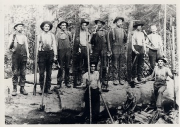 Group portrait of loggers with their tools.