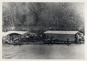 Men generally did not live in towns when they worked timber.  Instead, they came in from outlying areas, lived in groups in barracks, and went home over the weekends.  Here they lived in arks on the river.