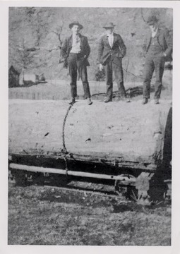 Picture of three men standing on a log.