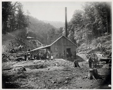 Workers, woman, and children stand in front of mill.