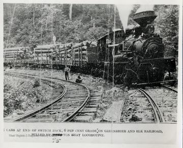 Twelve cars at end of switch back, 6% grade on Greenbrier and Elk Railroad, pulled by 95 ton Shay Locomotive.