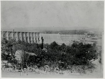 View looking upstream of the Stoney River Dam.  Newly completed 1915.