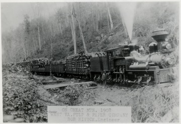 Greenbrier, Cheat and Elk Railroad No. 2 for West Virginia Pulp and Paper Co. at Cass, W. Va; Shay No. 2 on Cheat Mtn. 1908.  Bob Hivick, Engineer.