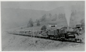 One of 12 Shay Engines pulling log trains at Cass, W.Va. during 1920's.  Now Site of W.Va. Scenic Railway.