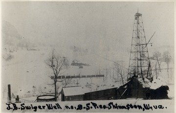 Oil rig derrick in winter.