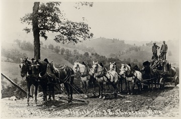 Team of eight horses pulling a cart with oil equipment and crew.