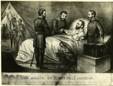 Drawing of Stonewall Jackson on his death bed, surrounded by doctors and officers.  Published by Currier and Ives.