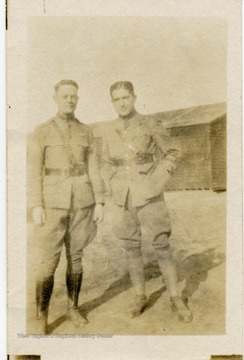 Portrait of Jarvis Offutt and Lt. Louis Bennett.  At left is Jarvis Jenness Offutt of the U.S. Air Sevice, who was temporarily attached to Number 56 Aero Squadron of the R.A.F. He was killed in an accident in France, August 13, 1918.  He was from Nebraska and a classmate of Bennett at Yale.