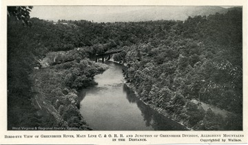 Bird's-eye view of Greenbrier River, Main Line C. and O. R.R. and junction of Greenbrier division, Allegheny Mountains in the Distance.