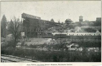 A coal processing plant, which shows the various buildings and railroad tracks.