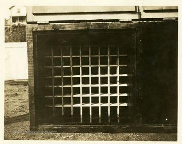 Picture of the slots inside a dynamite box used to hold the sticks of dynamite. Picture taken at Thomas, W. Va.
