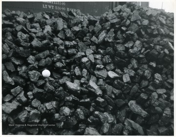 Jackhorn Furnace coal with a tennis ball placed among the blocks.
