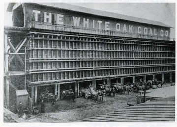 Horse drawn carts emerging from the White Oak Coal Company Storage and Distributing Plant at Richmond, Virginia.