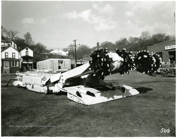 A Continuous Mining Machine on display above ground.