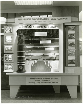 A Consolidation Coal Company Display showing the usefulness of coal and where it is formed. 'Judge' of Good Pictures, Industrial Photographers, 954 Liberty Ave, PGH. 22, PA. GR. 1-4288 AT. 1-3834. Reorder No. 35547-1.