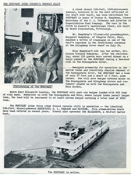 The christening of the Humphrey; a description of the Humphrey Towboat; and the Humphrey in action.