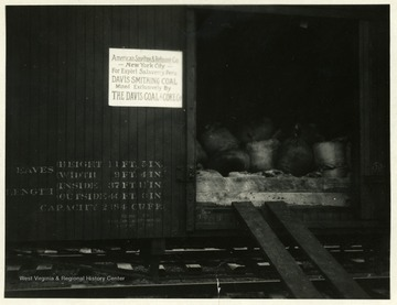 Train car with bags of coal headed to Salaverry, Peru. Sent by the Davis Coal and Coke Co.
