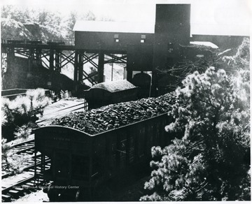 Coal cars at tipple being loaded with coal.