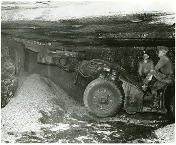 Two miners cut coal at Pursglove No. 15