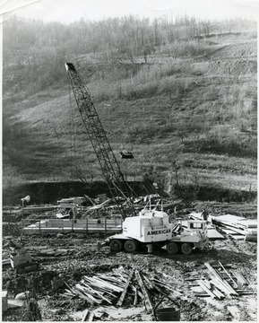 Construction of a building at Miracle Run Mine.