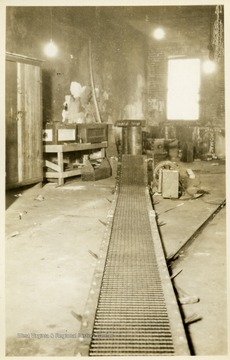 View of a conveyor in a machine shop at a coal mine in Thomas, W. Va.