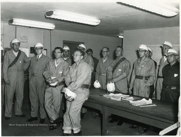 Group of miners in a safety class.