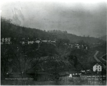 View of miners homes along a hillside at Scott's Run.