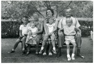 "Cesira and Emanuel ""Mike"" Viola with daughter in law Charmaine Viola, and grandchildren Tom, Jane, Joyce and Barbara."