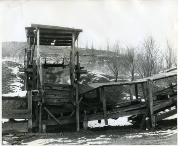 Wooden coal mining structure in Maidsville.