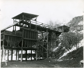 Wooden coal mining structure.