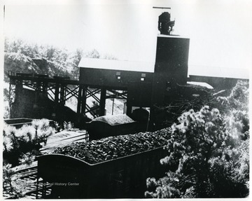 Coal cars going under tipple, Cranberry or Summerlee Mine.