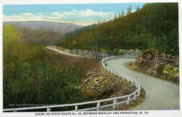 Postcard from Souvenir Folder Mountain Scenes, Midland Trail, and State Route No. 21, West Virginia.  From Joe Ozanic Scrapbook.