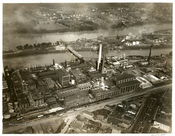 Aerial view of the factories in South Charleston, West Virginia.