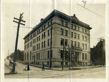 'Y.M.C.A. Building is located on the corner of 2nd and Fairmont Avenue in Fairmont, West Virginia. The building was called the Moose Club Building. Information from Marjorie Potesta, March 8, 1977.'