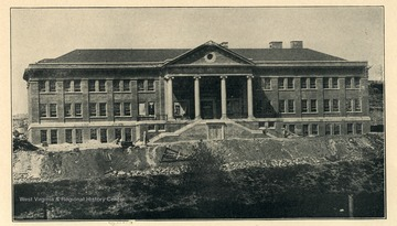 Morrow Hall building under construction, Fairmont State Normal School, in Fairmont, West Virginia.