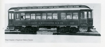 View of trolley car 103 of the Fairmont and Mannington R.R. Co. in Fairmont, West Virginia.