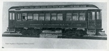 View of trolley car 103 of the Fairmont and Mannington R.R. Co., in Fairmont, West Virginia.