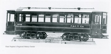 View of trolley car 236 of F. and C.T. Co., Fairmont, West Virginia.