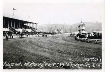 Postcard of horse racing at a race track in Fairmont, West Virginia.