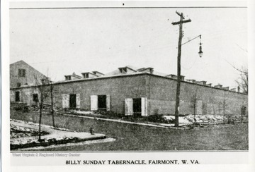 Postcard of the Billy Sunday Tabernacle in Fairmont, West Virginia.
